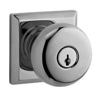 Baldwin Hardware - Reserve Round - Keyed Entry Door Knob with Traditional Square Rose in Polished Chrome