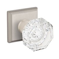 Baldwin Hardware - Reserve Crystal - Full Dummy Crystal Door Knob with Traditional Square Rose in Satin Nickel