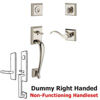 Baldwin Hardware - Reserve Napa - Right Handed Full Dummy Napa Handleset with Curve Door Lever with Traditional Square Rose in Polished Nickel