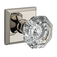 Baldwin Hardware - Reserve Crystal - Single Dummy Crystal Door Knob with Traditional Square Rose in Polished Nickel
