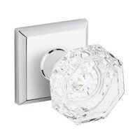 Baldwin Hardware - Reserve Crystal - Single Dummy Crystal Door Knob with Traditional Square Rose in Polished Chrome