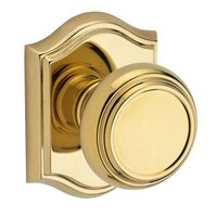 Baldwin Hardware - Reserve Traditional - Single Dummy Door Knob with Arch Rose in Polished Brass