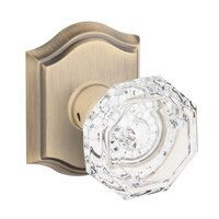 Baldwin Hardware - Reserve Crystal - Passage Crystal Door Knob with Traditional Arch Rose in Matte Brass & Black