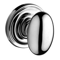 Baldwin Hardware - Reserve Ellipse - Passage Door Knob with Traditional Round Rose in Polished Chrome