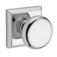 Baldwin Hardware - Reserve Round - Passage Door Knob with Traditional Square Rose in Polished Chrome