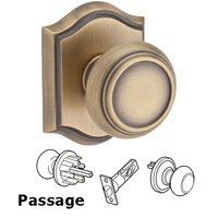 Baldwin Hardware - Reserve Traditional - Passage Door Knob with Arch Rose in Matte Brass & Black