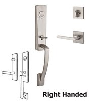 Baldwin Hardware - Reserve Miami - Handleset with Right Handed Square Lever and Contemporary Square Rose in Satin Nickel