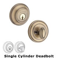 Baldwin Hardware - Reserve Traditional - Single Cylinder Round Deadbolt in Matte Brass & Black