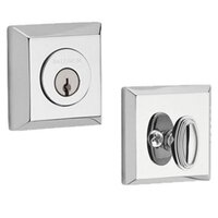 Baldwin Hardware - Reserve Traditional - Single Cylinder Square Deadbolt in Polished Chrome