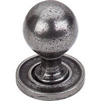 "Top Knobs - Britannia - Paris Knob Plain W/ Backplate 1 1/8"" in Cast Iron"