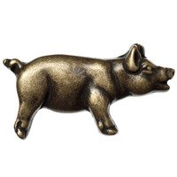 Big Sky Hardware - Animals - Right Facing Pig Knob in Antique Brass