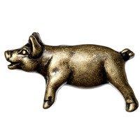 Big Sky Hardware - Animals - Left Facing Pig Knob in Antique Brass