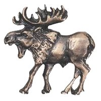 Novelty Hardware - Wildlife - Walking Moose Knob (Facing Left) in Antique Brass