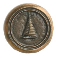 Novelty Hardware - Nautical - Small Sailboat Round Knob in Antique Brass