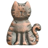 Novelty Hardware - Children's - Cat Knob in Antique Brass