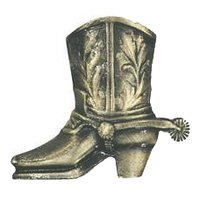 Novelty Hardware - Southwest - Cowboy Boot Knob in Antique Brass