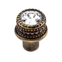 Carpe Diem Hardware - Cache - Medium Round Knob in Cobblestone with Aurora Boreal Crystal