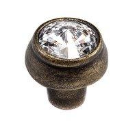 Carpe Diem Hardware - Cache - Swarovski Crystal Round Knob in Cobblestone with Aurora Boreal Crystal