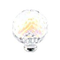 Cal Crystal - Crystal Knob - Round Rainbow Reflectance Knob in Polished Brass