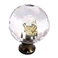 Cal Crystal - Crystal Knob - Round Knob in Polished Brass