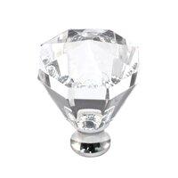 Cal Crystal - Crystal Knob - Octagon Knob in Polished Brass