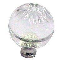 Cal Crystal - Crystal Knob - Round Knob in Polished Brass
