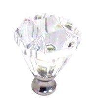 Cal Crystal - Crystal Knob - Octagonal Knob in Polished Brass