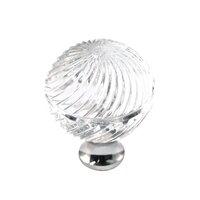 Cal Crystal - Crystal Knob - Swirled Knob in Polished Brass