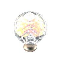 Cal Crystal - Crystal Knob - Rainbow Reflectance Knob in Polished Brass