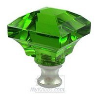 Cal Crystal - Crystal Knob - Beveled Square Colored Knob in Green in Polished Brass