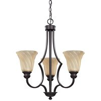 "Canarm - Allyson - 21 1/4"" Chandelier in Oil Rubbed Bronze with Amber Swirl Glass"