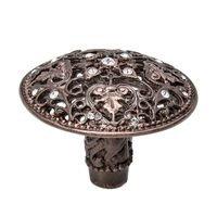 Carpe Diem Hardware - Juliane Grace - Juliane Grace Large Knob With Swarovski Crystals in Antique Brass with Aurora Borealis