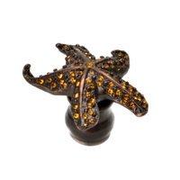 Carpe Diem Hardware - Oak Hollow Coastal Living - Star Fish Knob With Swarovski Crystals in Cobblestone with Aurora Borealis