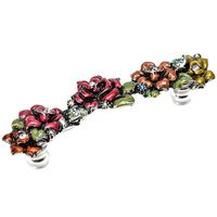 "Carpe Diem Hardware - Oak Hollow In the Garden - Rose 4"" Centers Pull With Swarovski Crystals & Multicolored Glazed Roses in Antique Brass with Aurora Borealis"