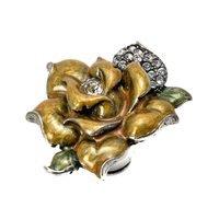 Carpe Diem Hardware - Oak Hollow In the Garden - Large Rose Knob W/ Swarovski Clear Crystals & Golden Bliss Glaze in Antique Brass with Aquamarine