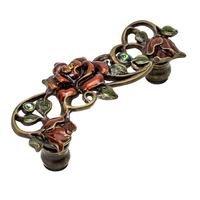 "Carpe Diem Hardware - Oak Hollow In the Garden - Rose 3"" Centers Pull W/ Swarovski Topaz/Clear Crystals & Amber Glaze in Antique Brass with Aquamarine"