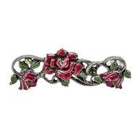 "Carpe Diem Hardware - Oak Hollow In the Garden - Rose 3"" Centers Pull With Swarovski Crystals & Raspberry Glaze in Antique Brass with Aurora Borealis"