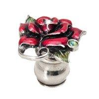 Carpe Diem Hardware - Oak Hollow In the Garden - Rose & Leaf Knob W/ Swarovski Clear Crystals & Raspberry Glaze in Antique Brass with Aquamarine