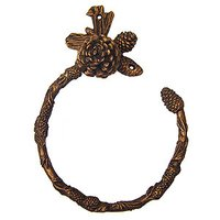 Carpe Diem Hardware - Oak Hollow Pinecone - Swing Towel Ring in Cobblestone
