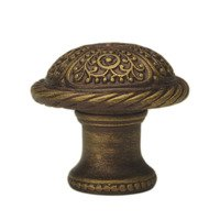 "Carpe Diem Hardware - Quick Ship Antique Brass Knobs and Pulls - 1 3/8"" Diameter Large Knob with Rope Border in Antique Brass"