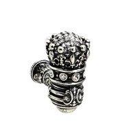 Carpe Diem Hardware - Crowning Glory Queen Elizabeth - Queen Elizabeth Large Eated Knob With Swarovski Crystals in Antique Brass with Aquamarine