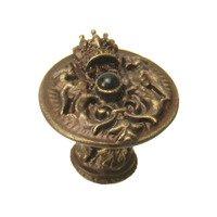 Carpe Diem Hardware - Crowning Glory King George - King George Shield Knob With Onyx Stone in Antique Brass