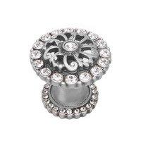 Carpe Diem Hardware - Cache - Medium Round Knob With Halo Platform With Swarovski Crystals In Cobblestone