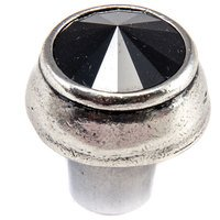 "Carpe Diem Hardware - Quick Ship Cache - 1 1/4"" Round Knob with Swarovski Elements in Chalice with Jet"