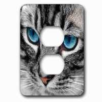 Jazzy Wallplates - Animals - Single Duplex Outlet With Beautiful Close Up Silver Tabby Cat Face With Gorgeous Blue Eyes.