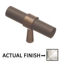 "Colonial Bronze - Split Finish - 2"" T Knob In Satin Chrome And Antique Copper"