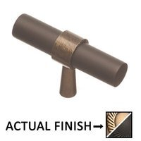 """Colonial Bronze - Split Finish - 2"""" T Knob In Antique Brass And Oil Rubbed Bronze"""