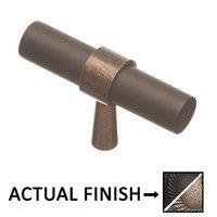 "Colonial Bronze - Split Finish - 2"" T Knob In Distressed Black And Satin Nickel"