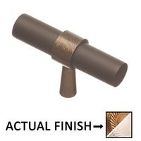 "Colonial Bronze - Split Finish - 2"" T Knob In Distressed Statuary Bronze And Satin Nickel"