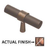 "Colonial Bronze - Split Finish - 2"" T Knob In Matte Antique Copper And Antique Copper"